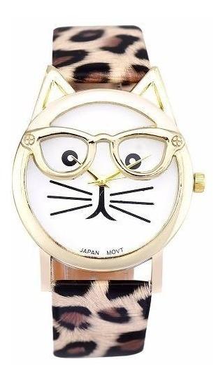 Relogio Adulto Infantil Gato Oculos Pulseira Onça Bd1090