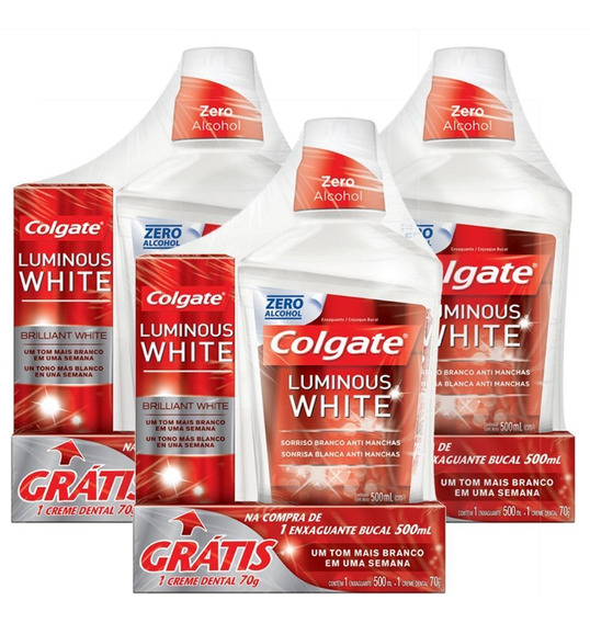 Kit 3 Enxag. Bucal Colgate Luminous White + Cremes Dentais