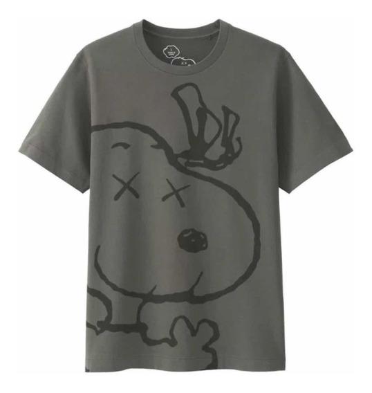 Playera Tshirt Kaws X Uniqlo X Snoopy Gris Original
