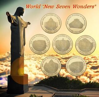 7 Maravillas Del Mundo Monedas Bañadas En Oro