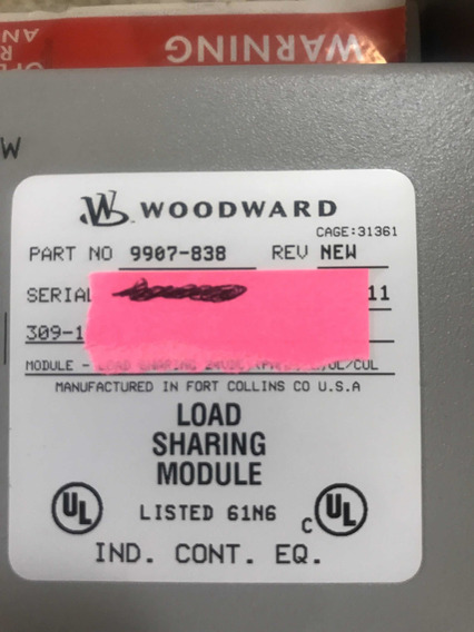 Woodward Load Sharing Module 9907-838 - Arremate Tenho 4un