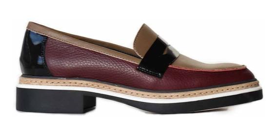 Mocasin Mujer Cuero Briganti Zapato Goma Confort - Mcmo03649