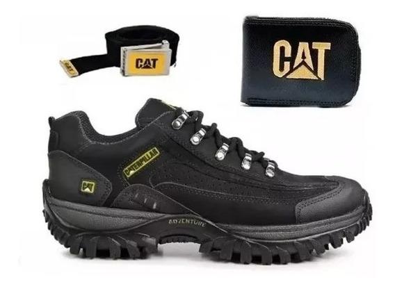 Kit Tenis Sapato Cat Em Couro + Cinto + Cart + Super Oferta
