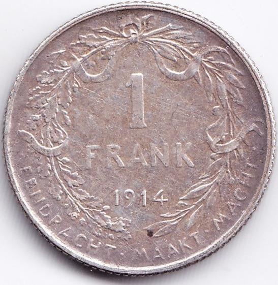 Belgica Moneda 1 Franco De 1914 Plata Km 72 Xf Excelente