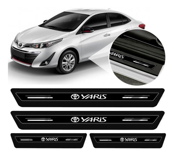 Soleira Protetor Porta Platinum Toyota Yaris Hatch Sedan 2019 2020 - Preto
