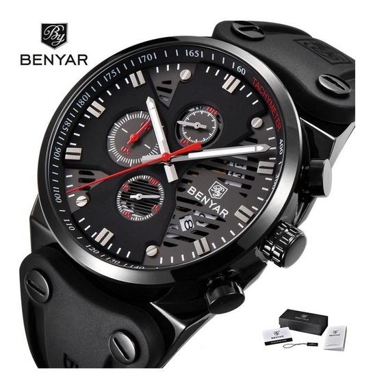 Relógio Benyar Militar Aviador 2020 Original Masculino Preto