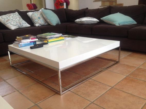 Mesa Centro Blanca Con Patas Niquel-med:100x100x030