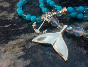 Guia De Iemanjá Em Pedra Natural Jade Azul E Cristais