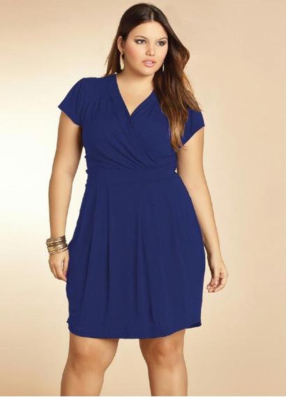 Vestido Plus Size Transpassado Roupas Femininas Quintess