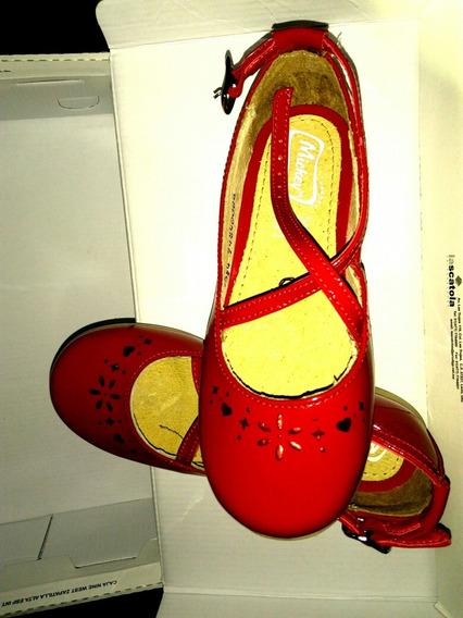 Zapatos Rojos Flats Niña Charol Marca Mickey 19cms Hermosos