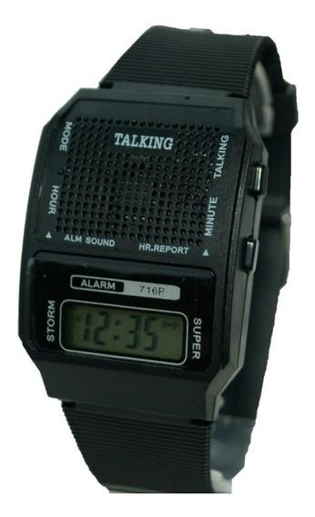 Relógio Fala Hora Unissex, Preto P Idoso/deficiente Visual