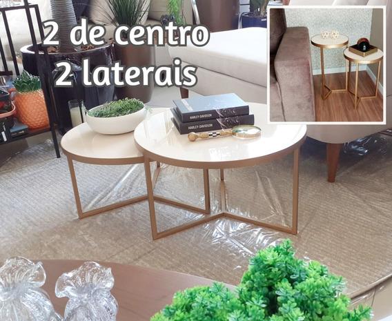 Kit - 2 Mesas De Centro + 2 Laterais (dourado)
