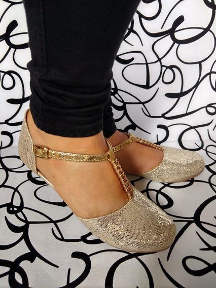 Zapatos Lindos Divinos Sandalia Dorada De Moda Envío Gratis