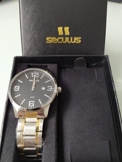Relógio Seculus Prata E Dourado - Novo + Garantia