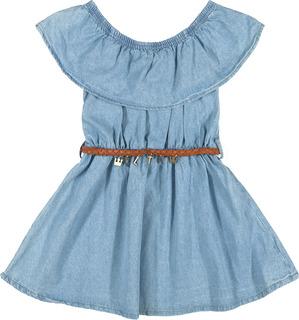 Vestido Infantil Jeans Claro Coloritta Ciganinha Com Cinto