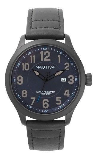 Relógio Nautica Masculino Couro Preto - Naphas001ww
