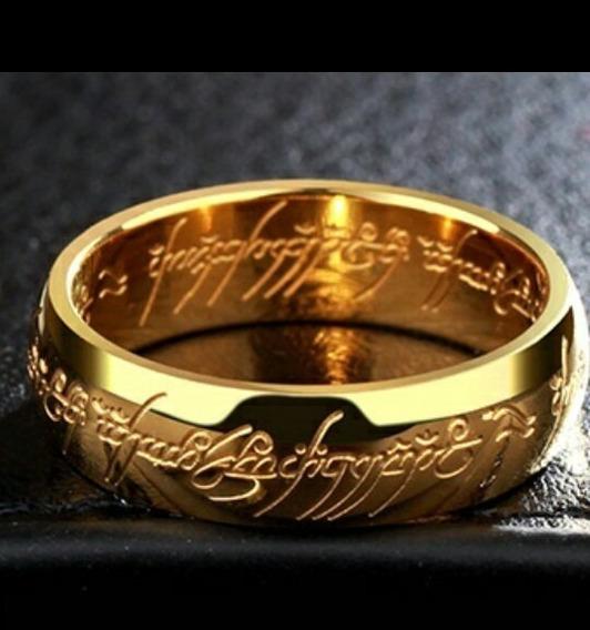 Anel Senhor Dos Aneis Escrita 3d Cravada Banhado Ouro18k
