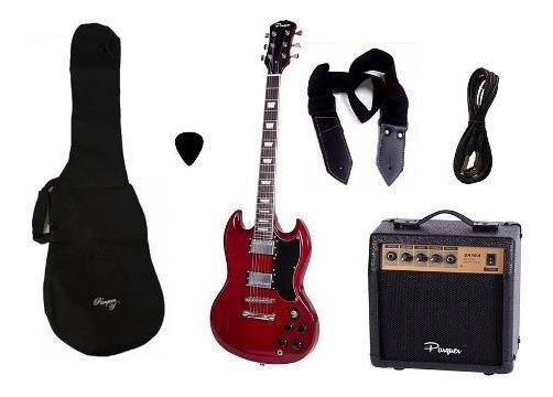 Combo Guitarra Electrica Parquer Sg Roja Amplif 10w Cuota