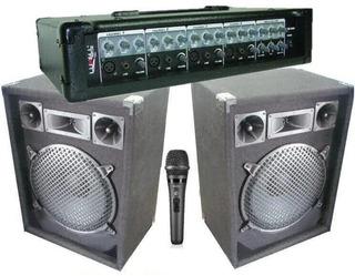 Equipo De Música Cabezal + 2 Bafles Dancis De 12+ Microfono
