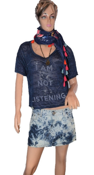 47 Street Remera I Am Not Listening Azul