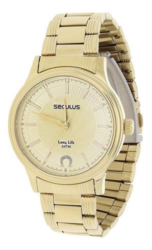 Relógio Seculus Feminino Long Life 5atm E Colar Ferradura 22