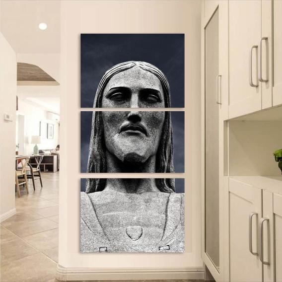Conjunto 3 Peças Quadro Decorativo Cristo Redentor Mdf