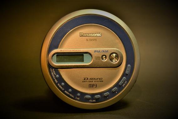 Cd Player Portátil Discman Radio Panasonic Mp3 Funcionando