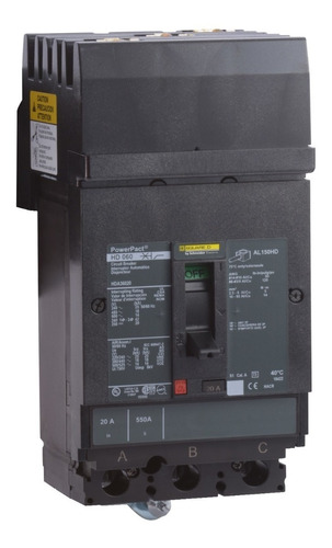 Imagen 1 de 1 de Interruptor Termomagnético Hda 3p 20a Schneider Hda36020