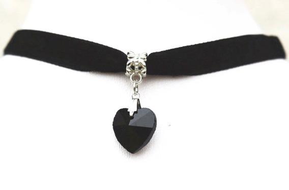 4 Colar Crocker Veludo Preto Com Coração Negro