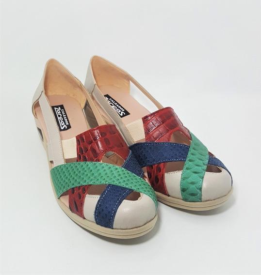 Sandalias Guaracha Cuero Beige Y Colores Confort Elastizada