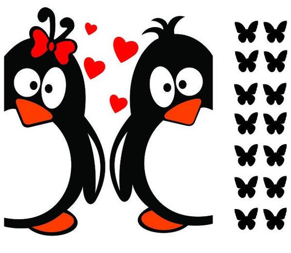 Adesivo De Geladeira Cozinha Mod.34 Decoração Pinguins