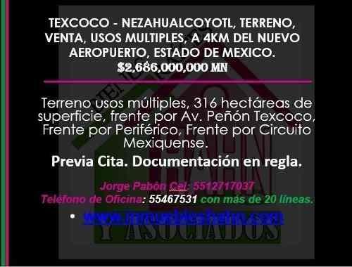 (crm-92-9207) Texcoco - Nezahualcoyotl Terreno Venta A 4km Del Nuevo Aeropuerto Cdmx