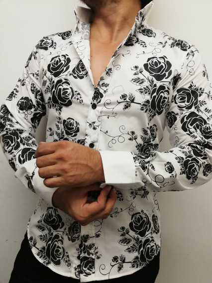 Camisa Casual Johans Slim Fitt Blanca Con Flores Negras