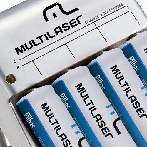 Carregador De Pilhas C/ 4 A A Recarregável Multilaser Cb054