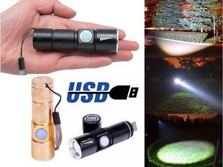 Mine Lanterna Tática Led T6 Recarregável Usb 58000w Preto