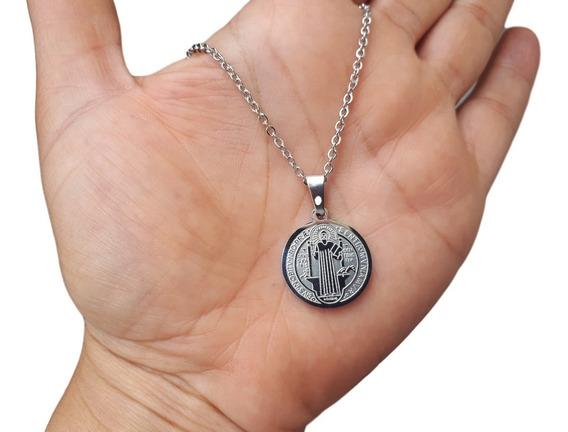 Corrente E Medalha São Bento Aço Inox Cirúrgico 316 Prata