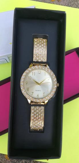 Relógio Avon Feminino Quartz Dourado Com Pedrinhas