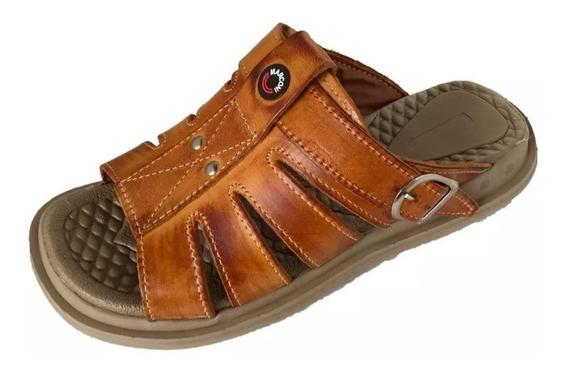 Sandália Masculina Couro Legitimo Conforto Tchwm Shoes 3500