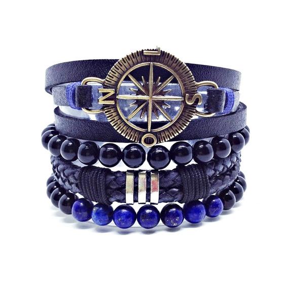 Kit 4 Pulseiras Masculinas Couro Bussola Lapiz Lazuli