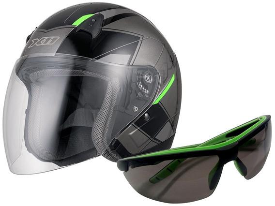 Capacete X11 Freedom Metric Aberto Motoqueiro Moto + Óculos