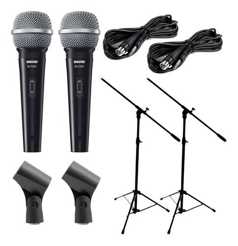 Imagen 1 de 10 de Combo 2 Microfonos Shure + 2 Soportes + Accesorios