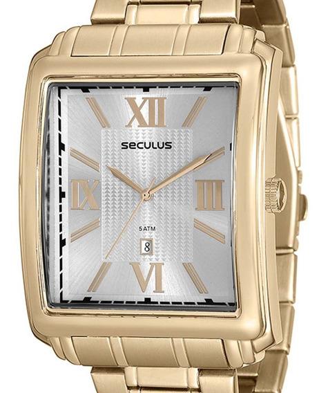 Relógio Seculus Masculino Quadrado 23574gpsvda1 Dourado + Nf