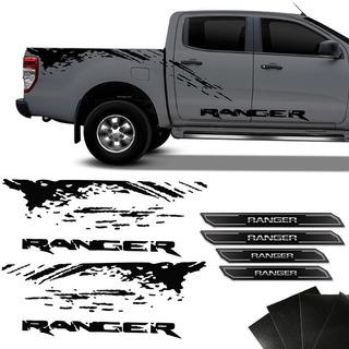 Faixa Ranger 2013/2020 Preta + Soleira Porta Resinada