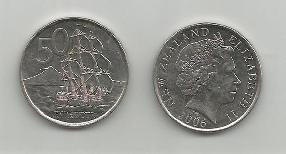 Moneda Nueva Zelanda Barco 50 C. 2006 Muy Buena