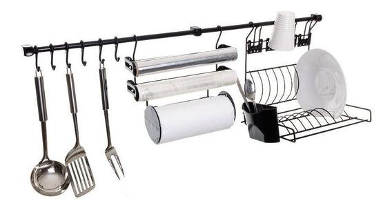 Escorredor Porta Papel Toalha/alumínio/filme Preto - Kit C