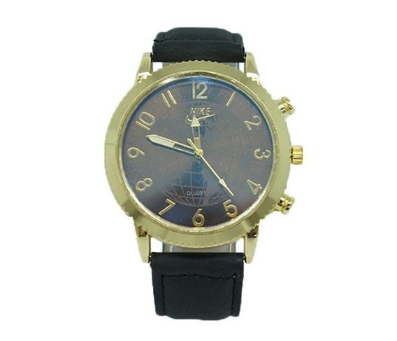 Relógio Nike Dourado Com Pulseira De Couro Preto Importado