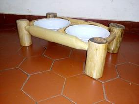 Comedouro Para Cachorro, Gato - Madeira Rustica - 15 Cm