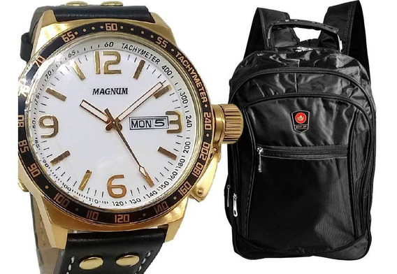 Relógio Magnum Masculino Analógico Ma31542b + Mochila Preta