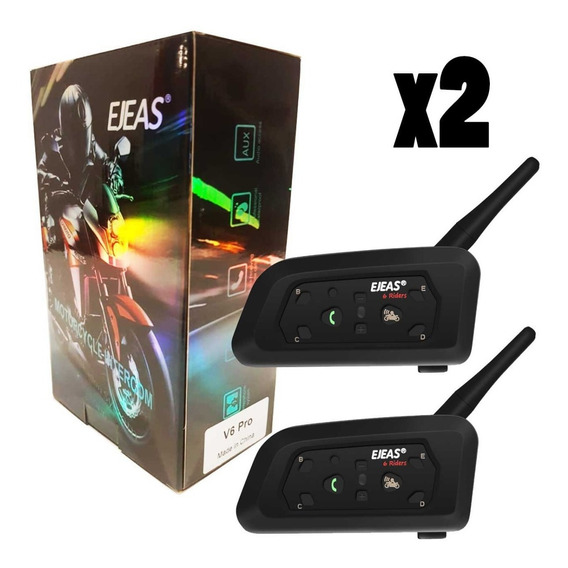 2 Intercomunicadores Bluetooth Moto Ejeas V6 Pro - Nuevo