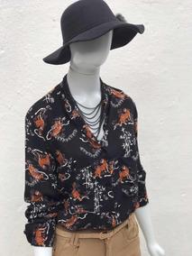 Roupas Feminina Trabalho Camisa Estampa Animal Print Social